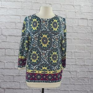 Talbots Floral Medallion Wool Sweater Large ***